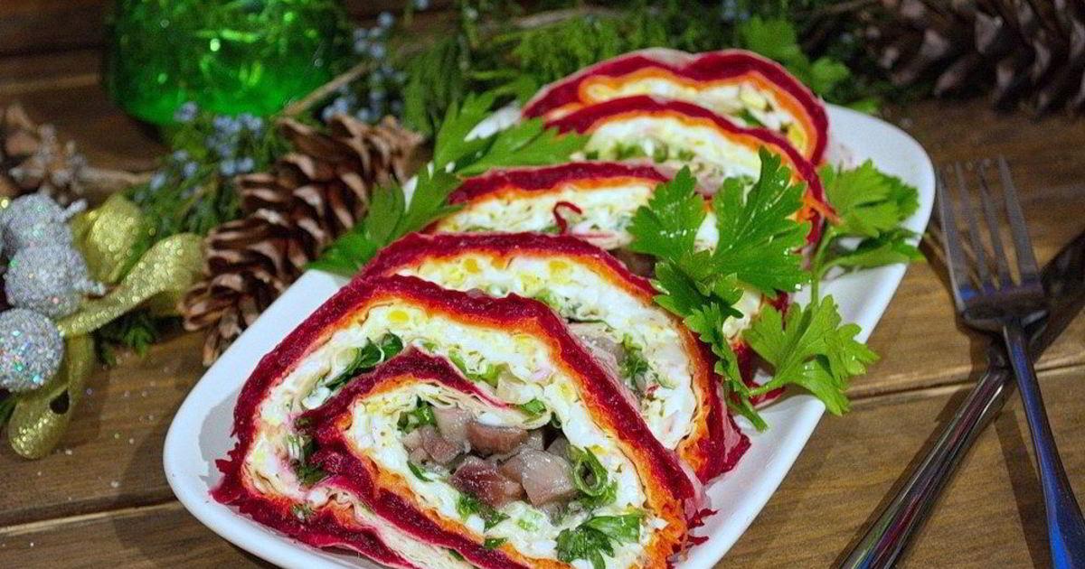 рецепт салата шуба рулетом с фото связи